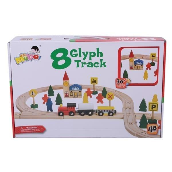 רכבת עץ מגנטי עם מסלול גדול לילדים